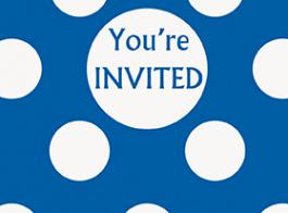 convite azul bolinhas