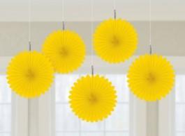 decoracao mini leque amarelo