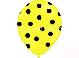 balao latex dots amarelo preto