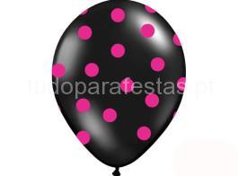 balao latex dots preto rosa