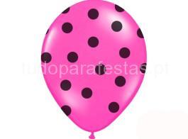 balao latex rosa dots preto