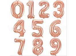 rosa gold balao numero