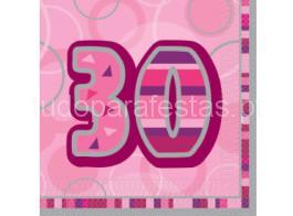 30 guardanapos rosa