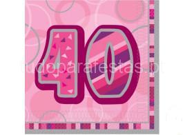 40 anos guardanapos rosa