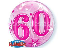 60 anos bubble rosa