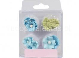 açucar flores azuis e folhas