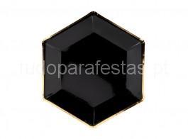 ano novo pratos pretos foil ouro 23cm