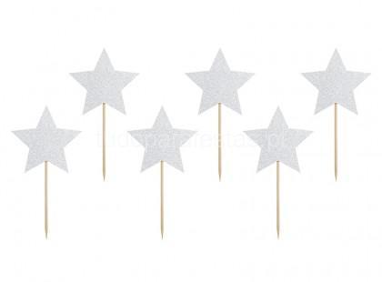 toppers estrelas prateado