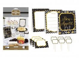 kit buffet preto ouro prata