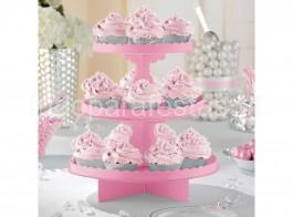 suporte doces 3andares rosa claro