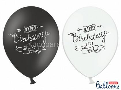 balao latex happy birthday preto branco