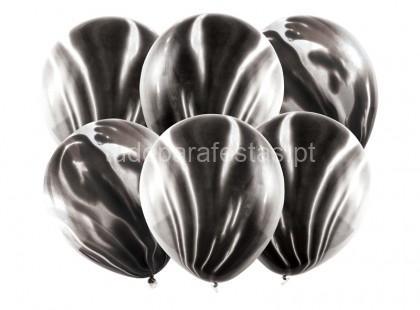 balao latex marmore preto