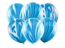 balao latex marmoreado azul