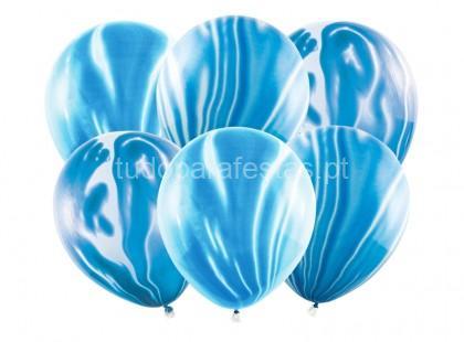 balao latex marmoreado azul
