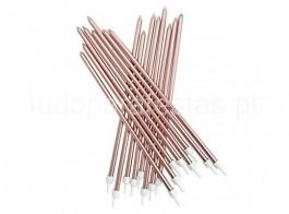 rose gold velas compridas