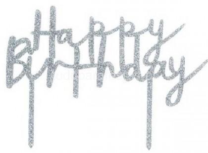 topper happy birthday prateado