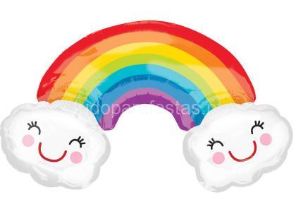 arco iris balao nuvens