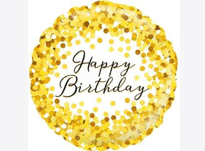 balao happy birthday confettis dourados