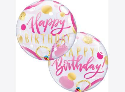 bubble happy birthday rosa gold