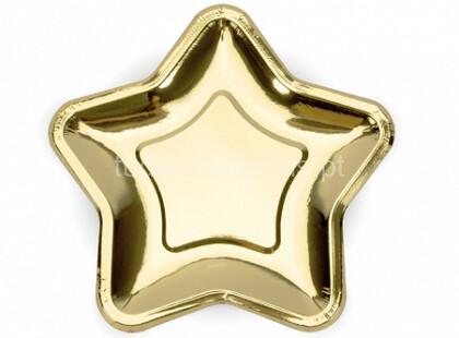 estrela dourada prato 23cm