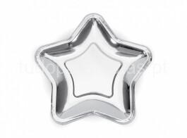 estrela prateada prato 18cm