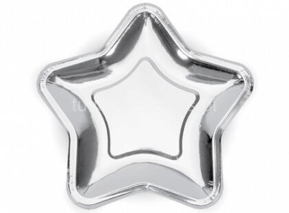 estrela prateada prato 23cm