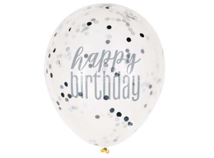 balao confetti happy birthday preto