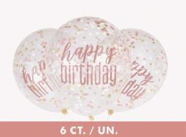balao confetti happy birthday rose gold