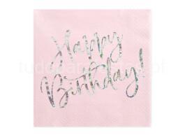 happy birthday guardanapos rosa claro