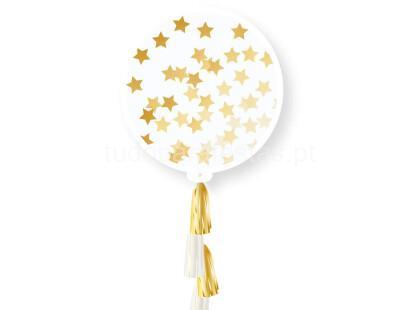 balao latex grande confettis estrelas douradas + tassel