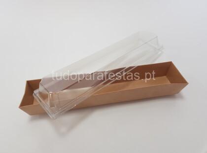 caixa omprida com tampa transparente
