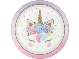 unicornio floral pratos 22cm