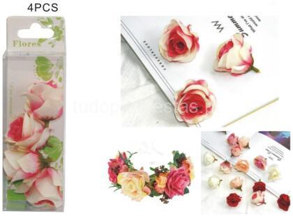 flores rosa e branco 4unid